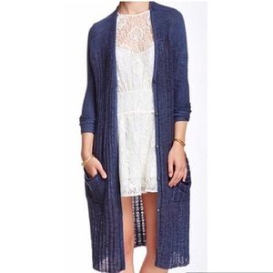 Free People Blue Ribbed Duster Cardigan